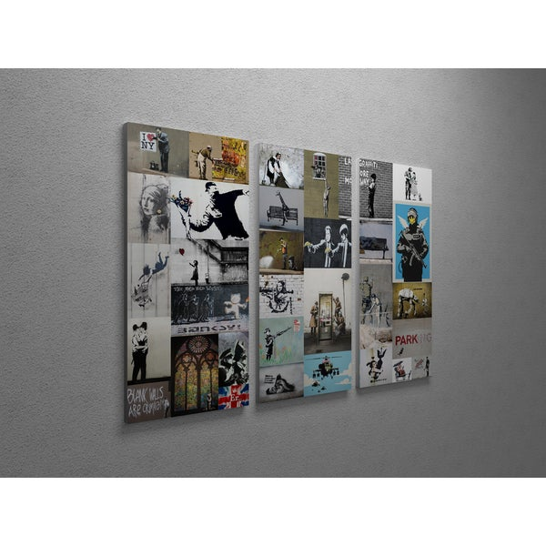 ... Canvas Art; /; Gallery Wrapped Canvas. u0026#x27;Banksy u0026#x27;Banksy Collectionu0026#x27; Triptych Gallery  sc 1 st  Overstock.com & Shop u0027Banksy u0027Banksy Collectionu0027 Triptych Gallery Wrapped Canvas ...