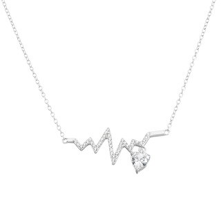 La Preciosa Sterling Silver Cubic Zirconia Heartbeat with Hanging Heart Necklace