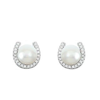La Preciosa Sterling Silver Cubic Zirconia and Freshwater Pearl Horseshoe Stud Earrings