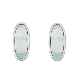 La Preciosa Sterling Silver Small Mother of Pearl Oval Earrings