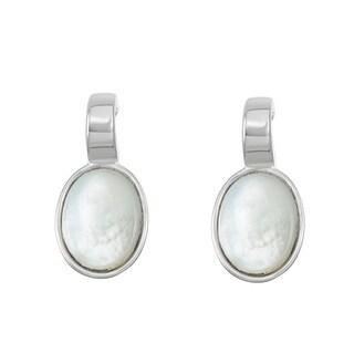 La Preciosa Sterling Silver Small Mother of Pearl Oval Earrings