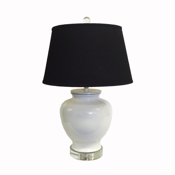 White Chic Porcelain Lamp with Black Shade and Crystal Base