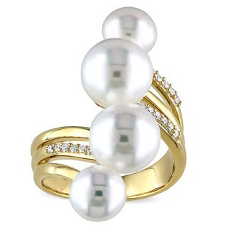 Miadora Yellow Gold Plated Silver Cultured Freshwater White Pearl and 1/10ct TDW Diamond Bypass Ring (G-H, SI1-SI2)