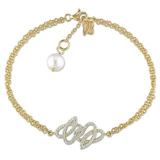 Miadora 14k Yellow Gold Cultured Freshwater White Pearl and 1/3ct TDW Diamond Charm Bracelet (7-7.5 mm)