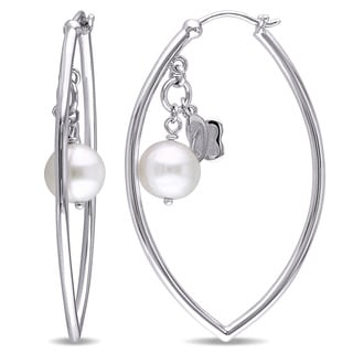 Julianna B Sterling Silver Cultured Freshwater White Pearl Huggie Earrings (9-9.5 mm)