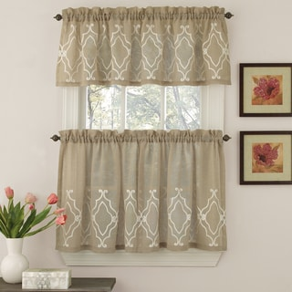 Semi-Opaque Chain Stitched Geometric Motif Window Curtain Pieces - Tiers and Valance Options