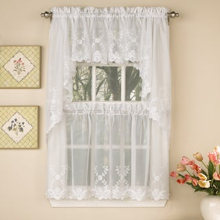 Sheer Voile Embroidered Scrolling Floral Leaf Pattern Window Curtain Pieces - Tiers, Valance and Swag Pair Options