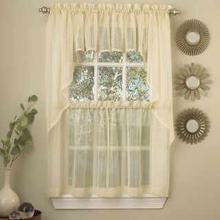 Yellow Micro Striped Semi Sheer Window Curtain Pieces - Tiers, Valance and Swag Options
