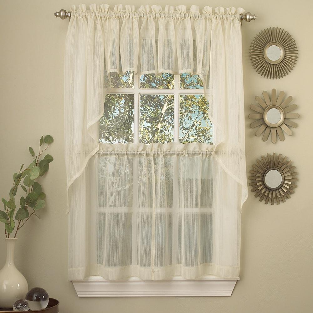 N Ivory Micro-Striped Semi Sheer Window Curtain Pieces - ...