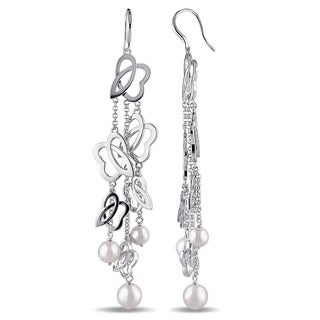 Miadora Sterling Silver Cultured Freshwater White Pearl Charm Earrings