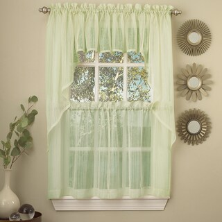 Micro Striped Semi Sheer Window Curtain Pieces - Tiers, Valance and Swag Options (2 options available)