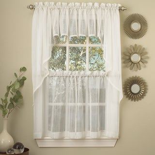 Sweet Home Collection White Micro-striped Semi-sheer Window Curtain Pieces - Tiers, Valance and Swag Options