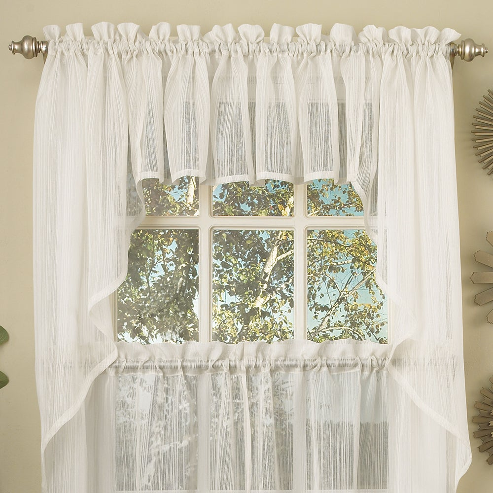 Shop White Micro Striped Semi Sheer Window Curtain Pieces - Tiers, Valance and Swag Options - 10898964