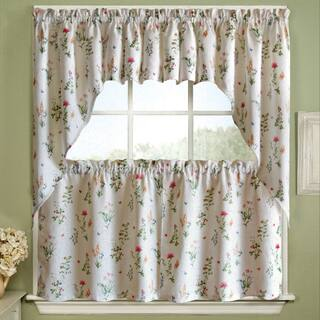 Vibrant Floral Garden Motif Jacquard Window Curtain Pieces