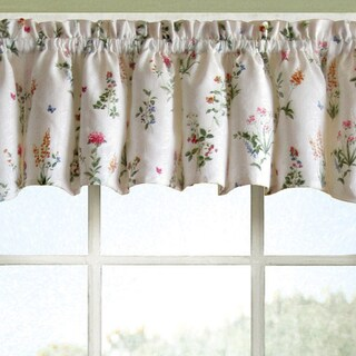 Vibrant Floral Garden Motif Jacquard Window Curtain Pieces - Tiers, Valance and Swag Pair Options (3 options available)