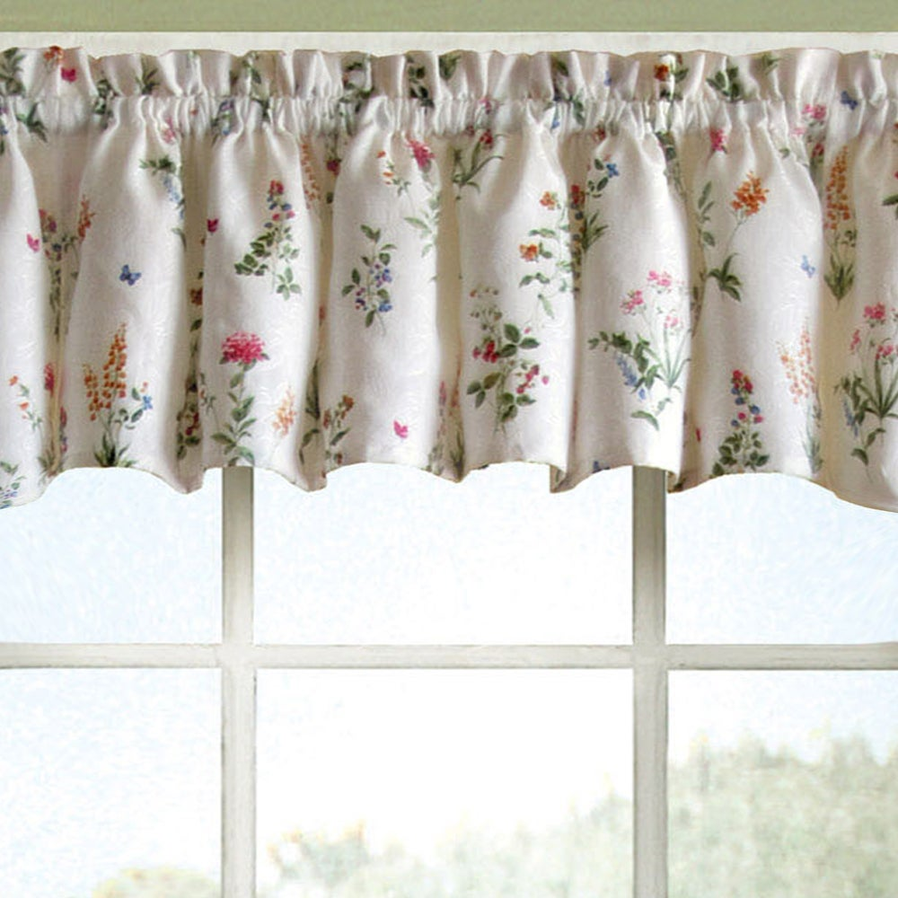 Vibrant Floral Garden Motif Jacquard Window Curtain Pieces   Tiers, Valance  And Swag Pair Options
