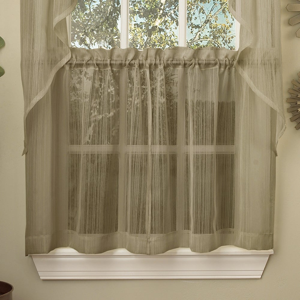 Shop Mocha Micro Striped Semi Sheer Window Curtain Pieces - 10898966