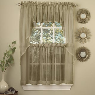 Mocha Micro Striped Semi Sheer Window Curtain Pieces