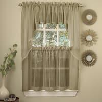 Mocha Micro Striped Semi Sheer Window Curtain Pieces