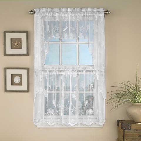 Marine Life Motif Knitted Lace Window Curtain Pieces