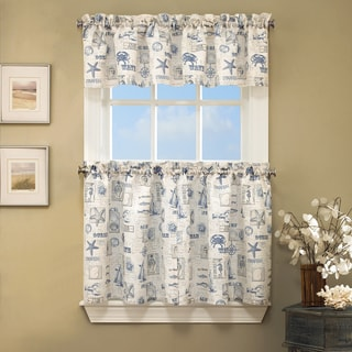 Vintage Sea Shore All Over Printed Window Curtain Pieces - Tiers/Valances