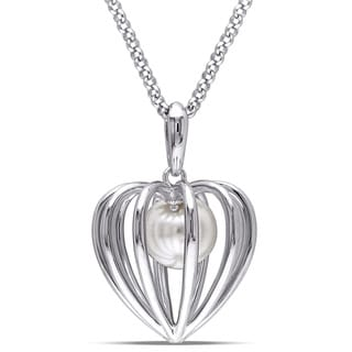 Miadora Sterling Silver Cultured Freshwater White Pearl Heart Necklace (9.5-10 mm)