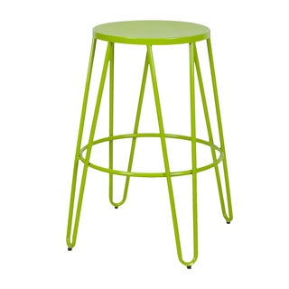 Adeco 26-inch Metal Stackable Round Top Backless Barstools (Set of 2)