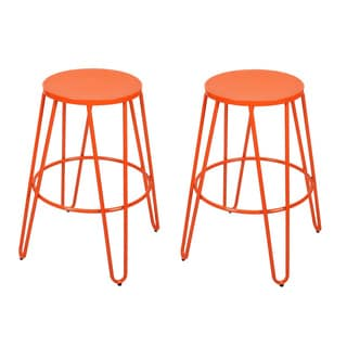 26-inch Metal Stackable Round Top Backless Barstools (Set of 2)