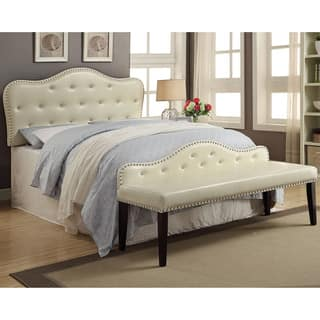Furniture of America Little Missy 2-piece Ivory Tufted Headboard and Bench Set|https://ak1.ostkcdn.com/images/products/10899006/P17932648.jpg?impolicy=medium