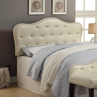 Furniture of America Razy Modern Ivory Faux Leather Tufted Headboard