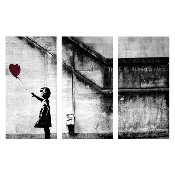 'Banksy 'Girl with Balloon' Triptych Gallery Wrapped Canvas Wall Art