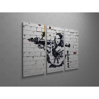 'Banksy 'Mona Lisa with Bazooka' Triptych Gallery Wrapped Canvas Wall Art
