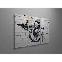 'Banksy 'Mona Lisa with Bazooka' Triptych Gallery Wrapped Canvas Wall Art - Grey