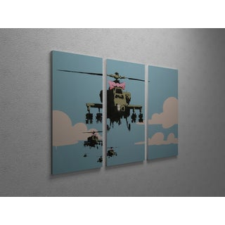 Banksy 'Happy Choppers' Triptych Gallery-wrapped Canvas Wall Art