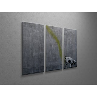 'Banksy 'Pissing Dog' Triptych Gallery Wrapped Canvas Wall Art