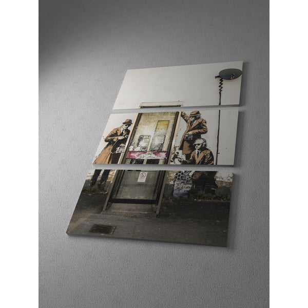 Banksy 'Spy Booth in Cheltenham' Triptych Gallery-wrapped Canvas Wall Art