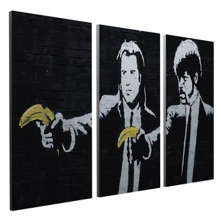 'Banksy 'Pulp Fiction' Triptych Gallery Wrapped Canvas Wall Art