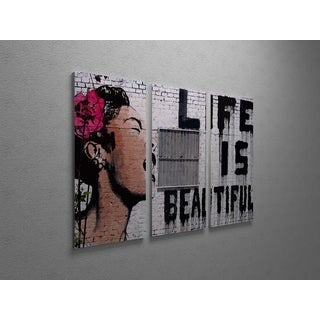 'Banksy 'Life is Beautiful' Triptych Gallery Wrapped Canvas Wall Art