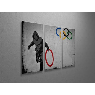 'Banksy 'Looting Olympic Ring' Triptych Gallery Wrapped Canvas Wall Art