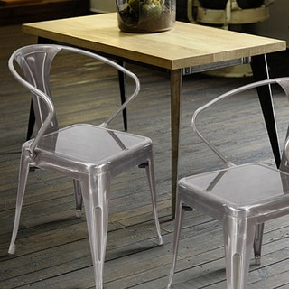 Adeco Vintage Style Metal Stackable Curve Armrest Chairs (Set of 2)