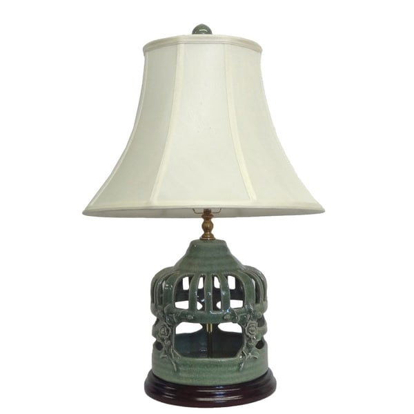 Celadon Crackle Birdcage Porcelain Lamp