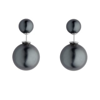 Pearlyta Sterling Silver Black Shell Pearl Back and Front Earrings (8 - 16 mm)