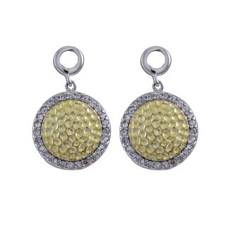 Luxiro Two-tone Sterling Silver Cubic Zirconia Hammered Circle Earrings