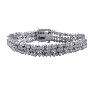 Luxiro Sterling Silver Cubic Zirconia Three-layer Tennis Bracelet