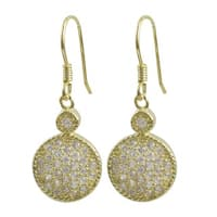 Luxiro Gold Finish Sterling Silver Pave Cubic Zirconia Circle Earrings
