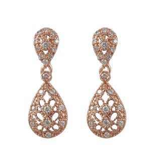Luxiro Rose Gold Finish Sterling Silver Pave Cubic Zirconia Lacy Teardrop Earrings