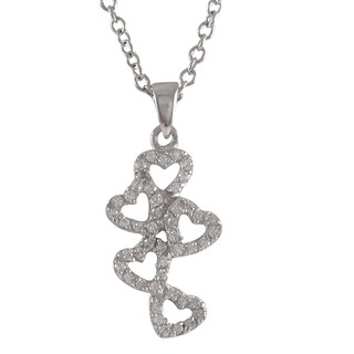 Luxiro Sterling Silver Pave Cubic Zirconia Bubble Heart Pendant Necklace