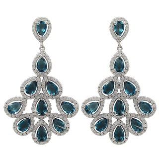 Sterling Silver Blue Cubic Zirconia Teardrop Cluster Earrings