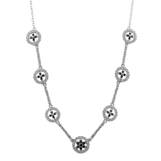 Luxiro Gold Finish Sterling Silver Cubic Zirconia Floral Circle Statement Necklace