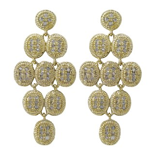 Luxiro Gold Finish Pave Cubic Zirconia Chandelier Dangle Earrings